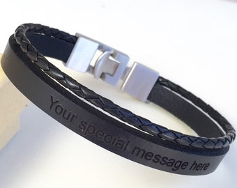FREE SHIPPING-Men Leather Bracelet,Stainless Steel Bracelet,Personalized Men Bracelet,Engraved Leather Bracelet,Custom Personalized Bracelet