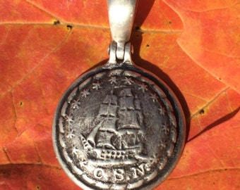 "Sterling Silver Confederate Navy ""C.S.N."" Ship Button  / Civil War Relic Pendant"