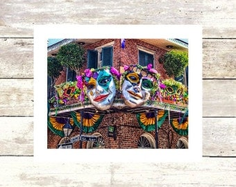 New Orleans Art  BOURBON and ST ANN  Mardi Gras Masks  French Quarter Fine Art Photograph  Limited Edition  Louisiana Art Wrought Iron Fence