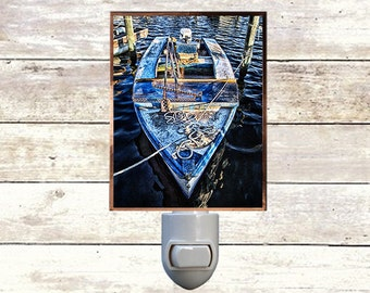 "Night Light, ""Blue Oyster Boat"", New Orleans Icons,  Handmade, Copper Foiled"