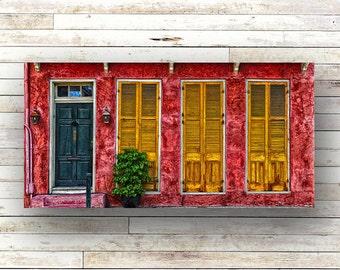 GOLDEN RED - New Orleans art - French Quarter Doors - Architecture - Door Photography