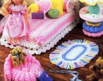Vintage Crochet Pattern PDF  Fashion Doll Home Decor Barbie Sindy House Furniture Girls Bedroom