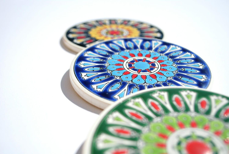 Mandala Ceramic Tile Coaster Drink Coaster Greek Ceramic