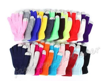 Personalized / Plain Custom Made Touch Screen Gloves Smartphone Texting Stretch Winter Knit Warm 15 Colors Available