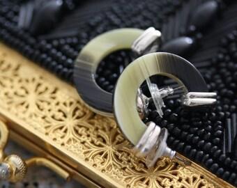 Wonderful Ralph Lauren Faux Horn Hoop Earrings in Cream and Tan/Grey