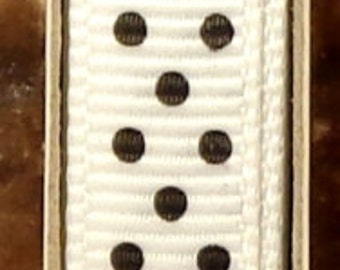 "2 Yards 3/8"" Swiss Dots - White with Black Swiss Dots Grosgrain Print Ribbon"