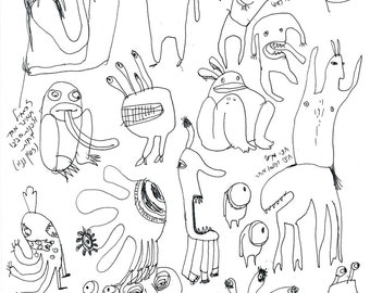 Two in one sketch, Monsters and figurs line drawings, one of a kind original artwork