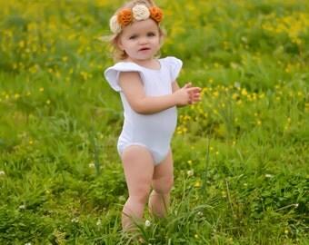 Baby Leotard, WHITE RUFFLE SLEEVE Leotard Bodysuit