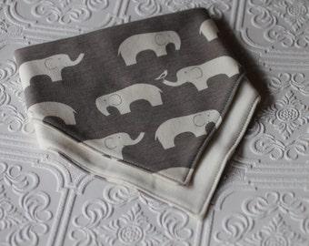 bandana bibs, organic cotton knit drool bib, reversible bandana bib, elephant bib, baby bandana bib