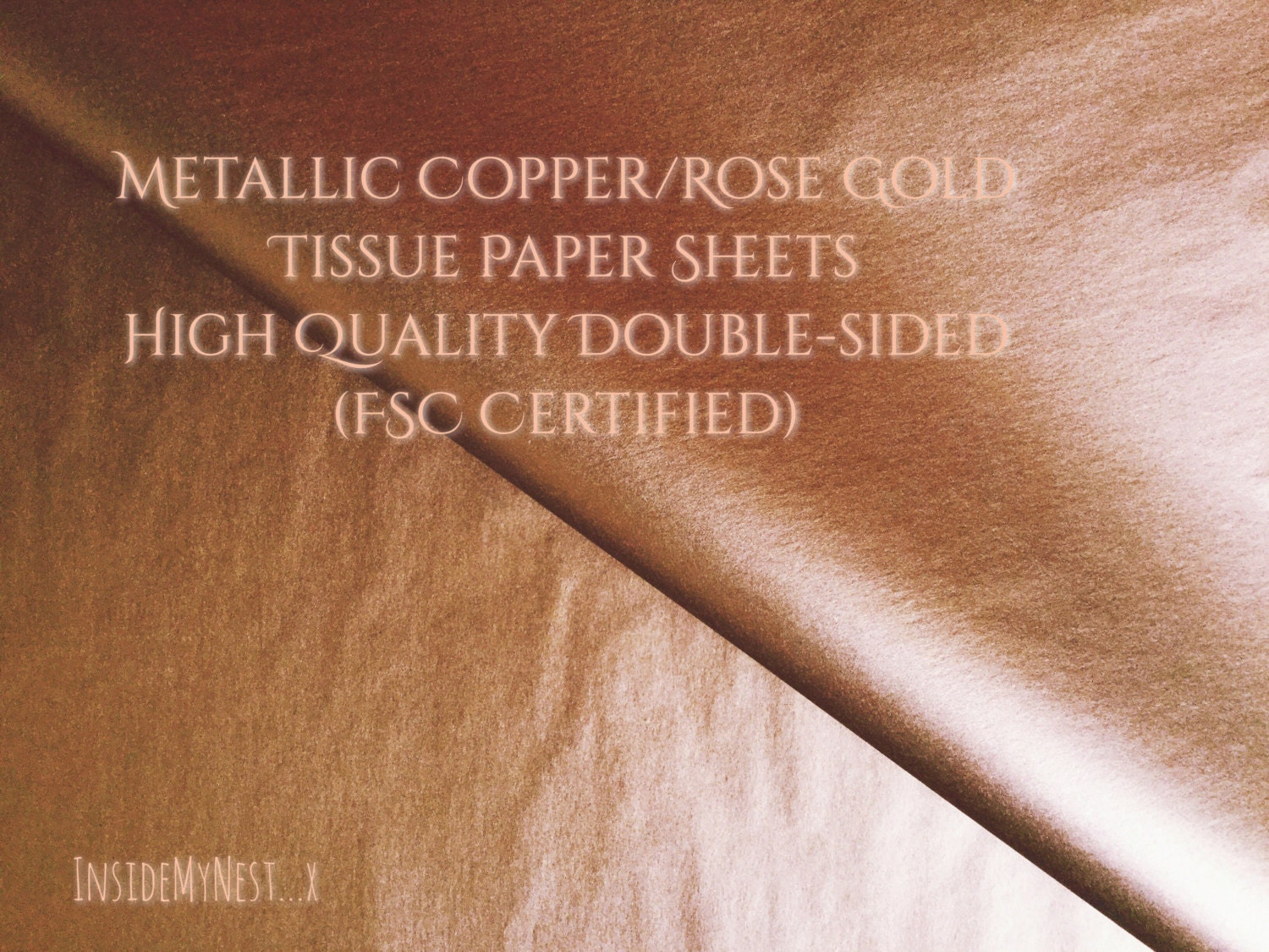 10 Metallic Copper Rose Gold Tissue Paper Sheets Christmas