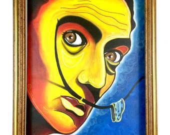 Salvador Dali Portrait Painting, modern art, figurative artwork, house warming gift, Original acrylic canvas, acrylic painting, wall decor.