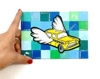 Yellow Cab wall art, NYC Taxi original acrylic painting, pop art, modern art work, whimsical canvas, NYC skyline art