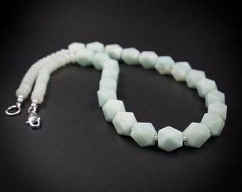 amazonite chunky statement necklace earring set handmade semiprecious stone amazonite jewelry set jewelry ready to ship