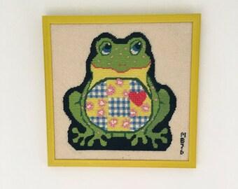 Vintage Framed Needlepoint Frog, Framed Frog Art
