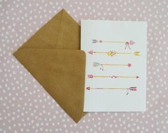Arrow Card- Cupid's Arrow Card- Watercolor Card- Anniversary Card- Love Card