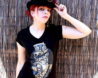 Women's The Commodore Owen P. Ticklewhiskers Steampunk Cat V-Neck T-Shirt Sm Md Lg XL