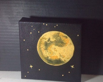 Orange Full Moon and Stars Acrylic Painting 6x6 inches • Home Accents Cosmic Home Decor Black and White painting Wall Decor Made to order