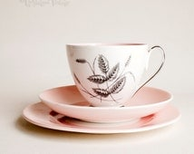 Vintage Queen Anne Bone China 'Harvest Pink' Cup, Saucer Plate Trio