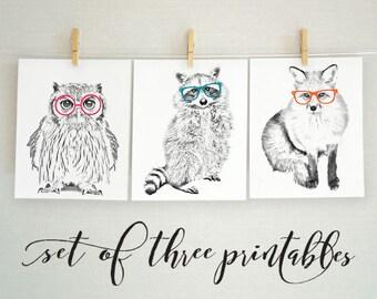 Forest Animal Nursery Art, Forest Nursery Art Print, Forest Animal Art Set, Black and White Animal Printables, Raccoon, Owl, Fox, 8x10