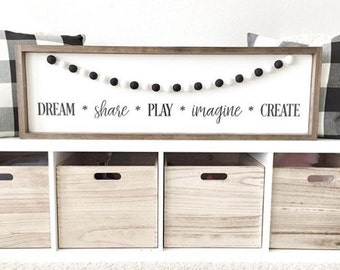Customize your garland colors, playroom sign, 11.5 X 37 in, kids room sign, play, imagine, create, inspire, dream, felt ball garland