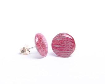 Boucles d'oreille puces corail - Argent 925