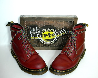 Luv Sale*Uk 6~Soft Red Leather 1460 Doc Martens -Made in England -- size 6 UK = size 7 US Mens = size 8 to 8.5 US Women