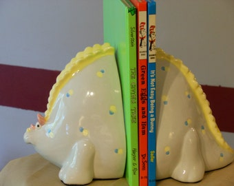 Ceramic Dinosaur Children's Bookends. Fitz & Floyd Japan