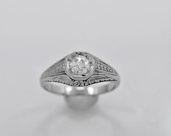 Antique Engagement Ring .40ct. Diamond & 18K White Gold Art Deco- J34190