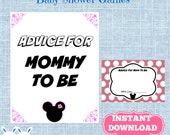 Minnie Mouse Baby Shower Advice for Mom to Be Cards with Sign,  Disney Mouse Baby Shower  Advice for Mommy To Be Cards Pink Polka Dot