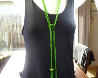 1930s Rich Green Seed Beads Extra Long Flapper Tassel Necklace