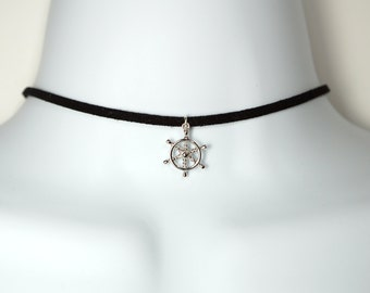 Sterling Silver Captain's Wheel Choker on Suede