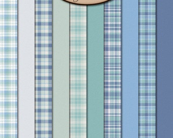 Digital Scrapbook, Baby, Boy, Plaid: Look At Him Paper Pack Extra