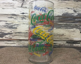 Vintage Coca Cola Large Glass Vase