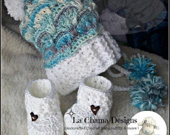 Crochet baby booties. Crochet baby hat.