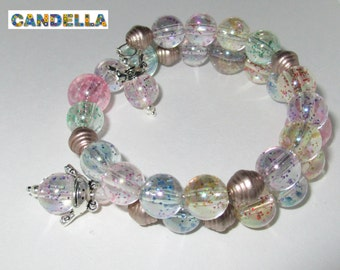 Jewelry Cuff Bracelet memory wire transparent resin beads with multicolored sequins frog