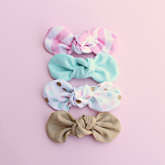 Fabric Knot Bow : The SWEETIE Collection// Confetti, Mint, Sand, Pink Stripe/ Twist Fabric Bow / Baby Bow / Retro Clip