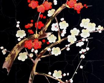 Fabric,  Golden Garden in Black, Japanese Blossoms, Alexander Henry Asian Indochine, Last One Yard