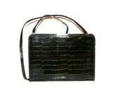 Beautiful Italian Vintage brown varnish evening purse in reptile look. Antonio Scepi Italy