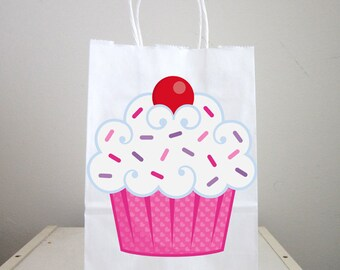 Cupcake Goody Bags, Cupcake Favor Bags, Cupcake Goodie Bags, Cupcake Gift Bags, Cupcake Party Bags, Cupcake Birthday
