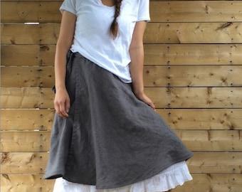 Linen Wrap Skirt -