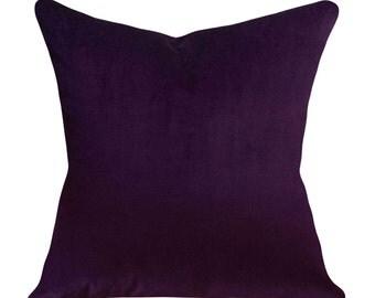 Velvet Purple Pillow Cover - Throw Pillow - Decorative Pillow - Both Sides - 12x16, 12x20, 14x18, 14x24, 16x16, 18x18, 20x20, 22x22, 24x24