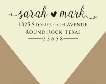custom Return Address Stamp,curly font - Self-Inking Address Stamp - Custom Address Stamp-custom rubber stamp-wedding address stamp
