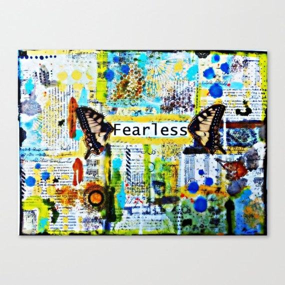 Canvas Print. Fearless: Mixed media art