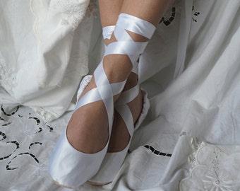 White Satin Bridal Ballet Slippers,  White Ballerina Bridal Shoes,  White Bridal Ballet Flats,  Ballerina Wedding Shoes, White Wedding Flats