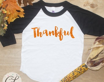 Thankful Shirt / Baby Girl Clothes Baby Boy Thanksgiving Tee Thankful Raglan First Thanksgiving 1st Thanksgiving Tshirt Turkey Day 198