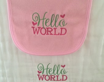 Hello World bib and burp cloth set