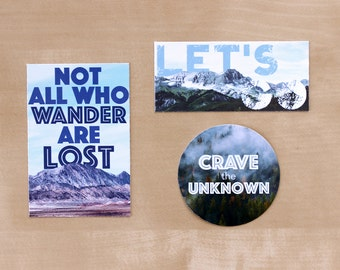 Adventure Stickers//Pack of 3