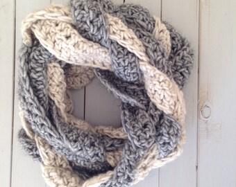 Grey and Cream crochet cowl