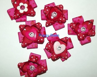 Puppy Bows ~Barrette or bands VALENTINE'S DAY red pink heart round  bow dog grooming ~USA seller