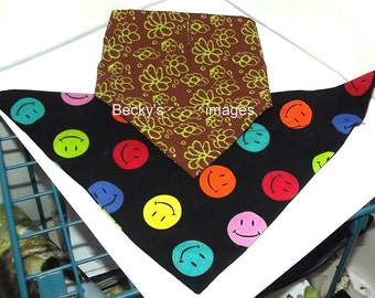 Puppy Bows~2 over the collar dog pet bandana large green flowers happy face ~US Seller
